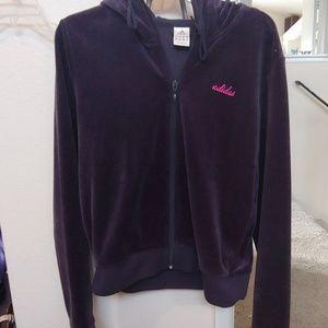 Adidas slightly cropped velour jacket